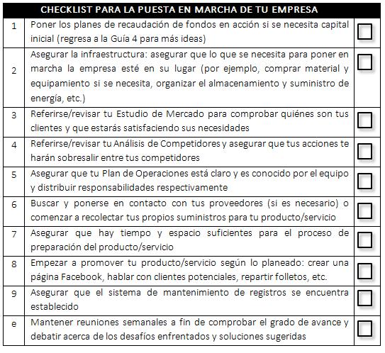 Implementation checklist SP